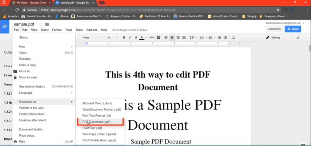 Step5.edit PDF with Google Docs