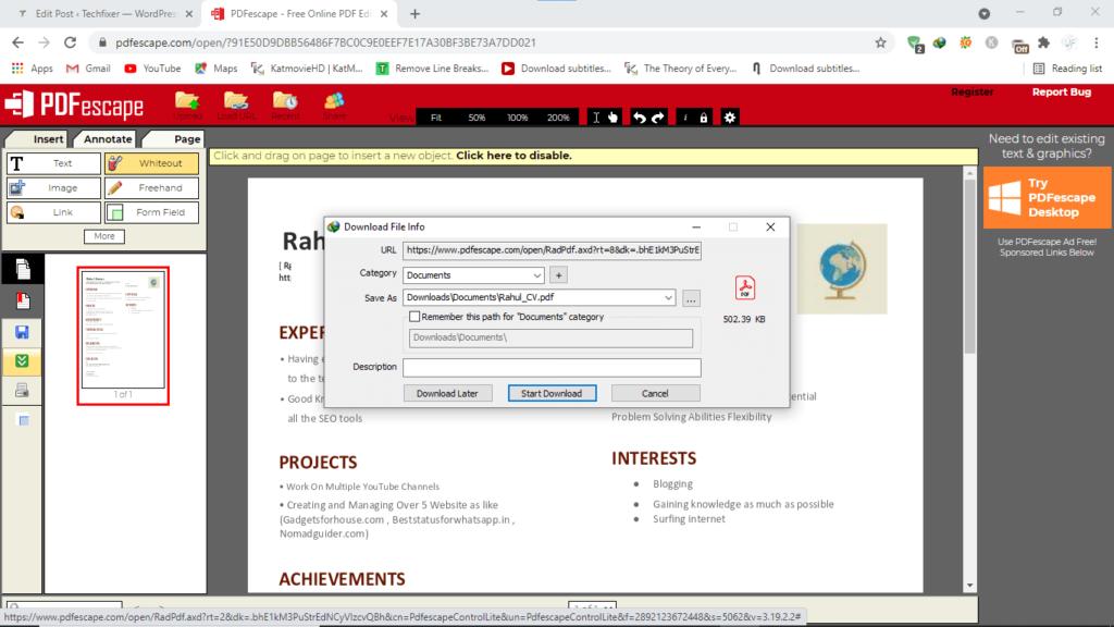 Step5.edit PDF with PDFescape