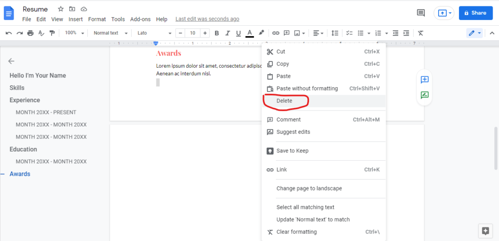 Way2.How to Delete a page in Google Docs