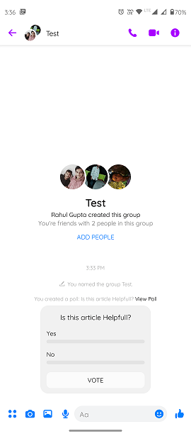 Step6.)How to create a poll on Facebook Messenger