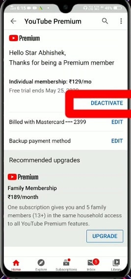 Steps to Cancel YouTube Premium on Mobile